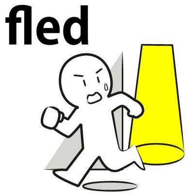 「fled+場所」で、「(場所)から逃げた」という意味