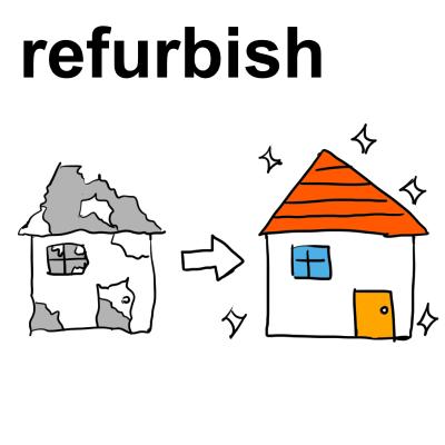 英単語「refurbish[動]改装する、磨き直す」