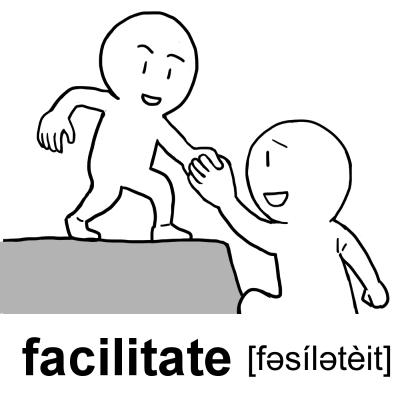 英単語「facilitate[動]楽にする、促進する」イラスト